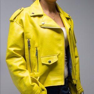 Zara Basic Yellow Leather Jacket